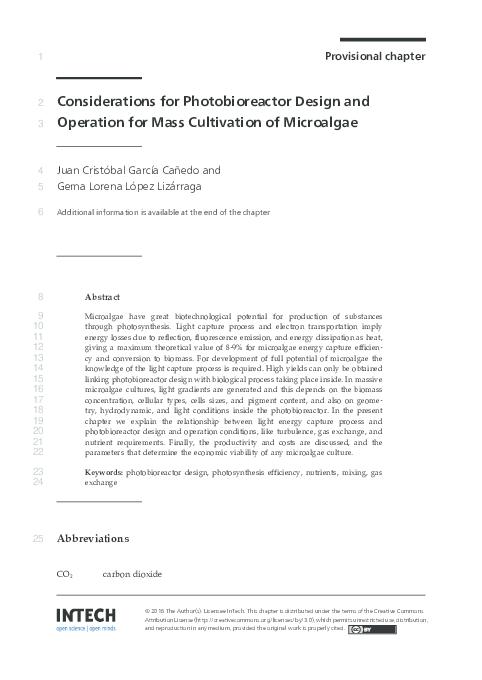 Pdf Considerations For Photobioreactor Design And Operation For Mass Cultivation Of Microalgae Juan C Garcia Canedo And Gema Lorena Lopez Lizarraga Academia Edu