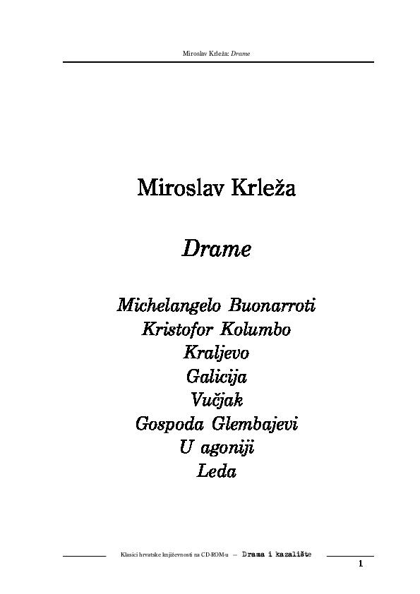 Pdf Miroslav Krleza Drame Milica B Academia Edu