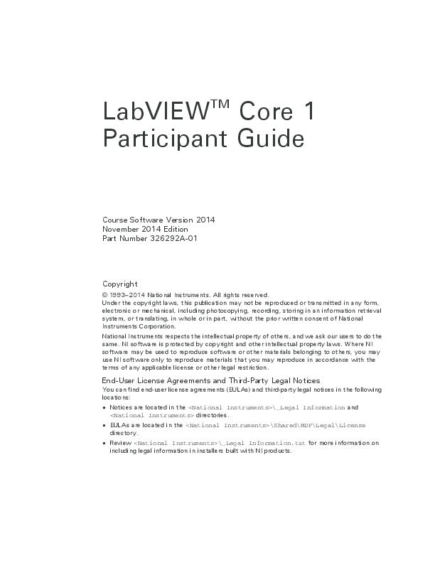 PDF) LabVIEW TM Core 1 Participant Guide Course Software