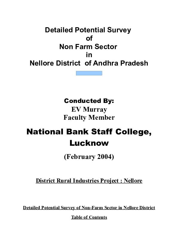 PDF) Non-farm Sector in Nellore, Andhra Pradesh | Emmanuel V