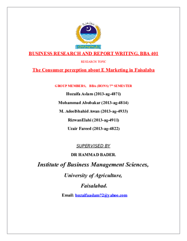 DOC) BUSINESS RESEARCH AND REPORT WRITING  BBA 401 The