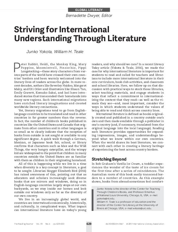 PDF) Striving for International Understanding through Literature