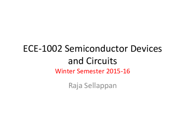 PDF) ECE-1002 Semiconductor Devices and Circuits Raja