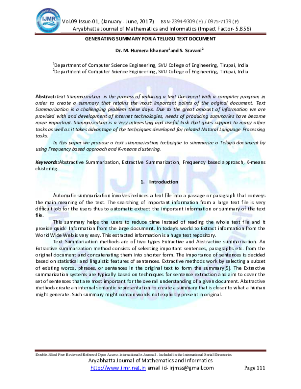 Pdf Generating Summary For A Telugu Text Document Journal Ijmr Net In Ugc Approved Academia Edu