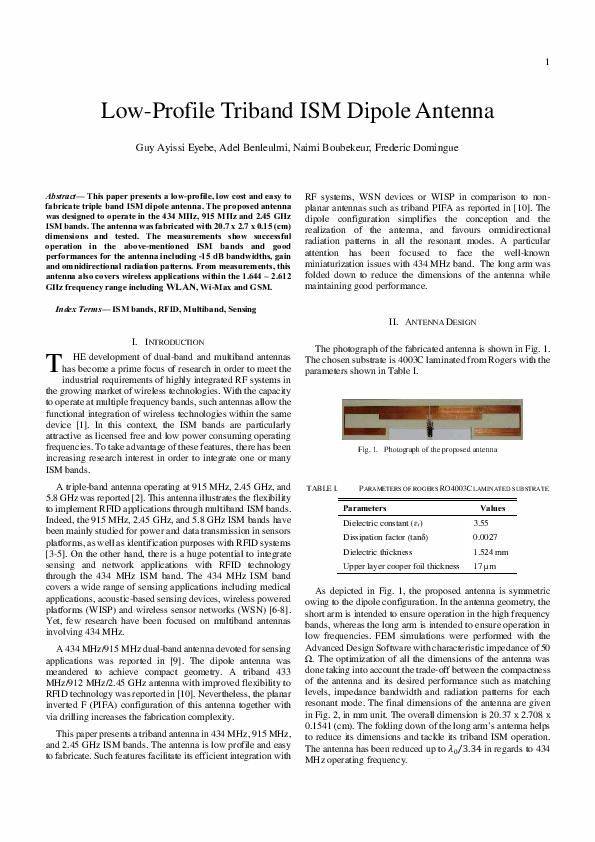 PDF) Low-Profile Triband ISM Dipole Antenna | arun dsd - Academia edu