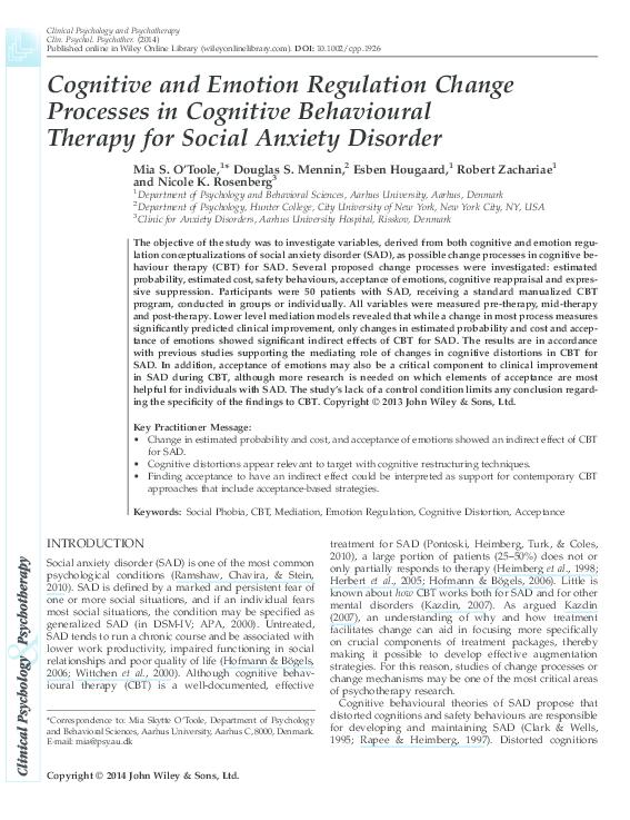 PDF) Cognitive and Emotion Regulation Change Processes in