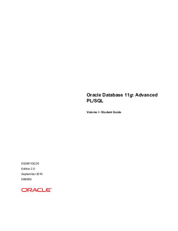 PDF) Oracle Database 11g: Advanced PL/SQL Volume I @BULLET
