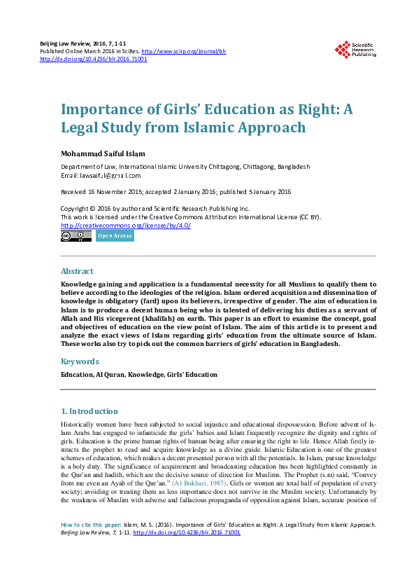 PDF) Importance of Girls' Education as Right: A Legal Study