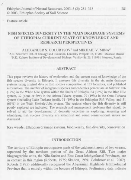 PDF) Fish species diversity in the main drainage systems of