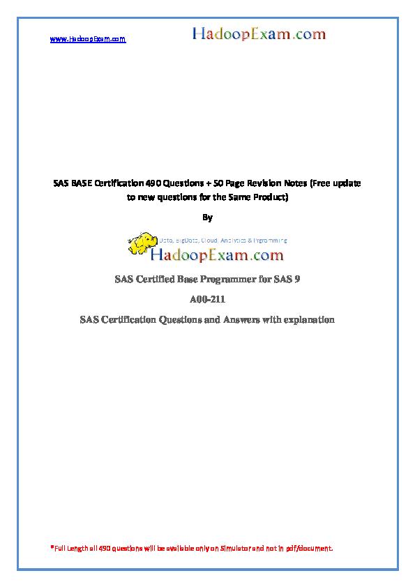 Sas Base Certification 490 Questions 50 Sas Certified Base