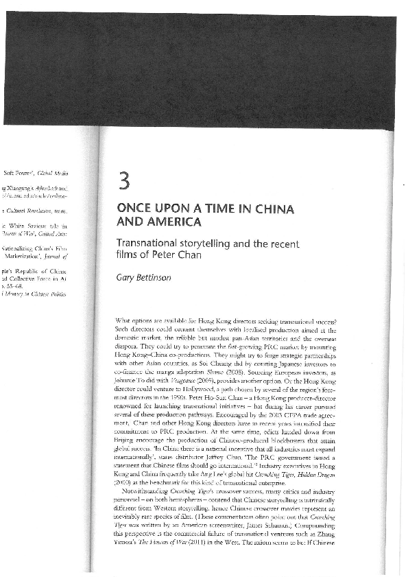 PDF) Once Upon a Time in China and America: Transnational