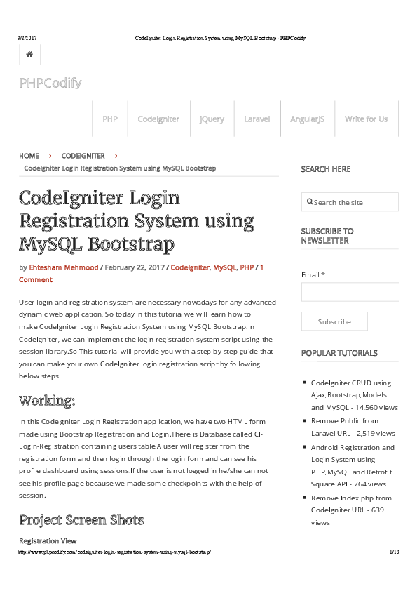 PDF) CodeIgniter Login Registration System using MySQL Bootstrap