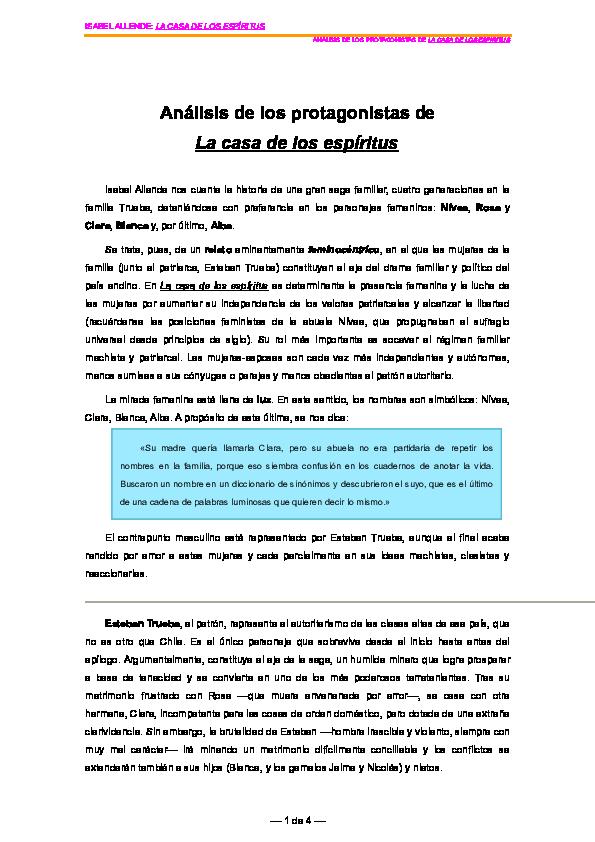 Doc Análisis De Los Protagonistas De La Casa De Los Espíritus Carolina Alvear Academia Edu