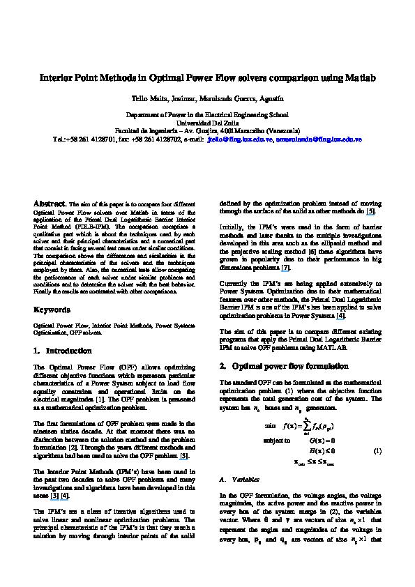 PDF) Interior Point Methods in Optimal Power Flow solvers