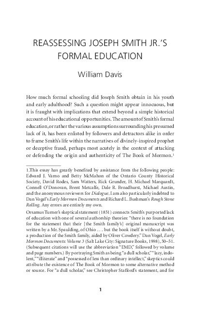 PDF) Reassessing Joseph Smith Jr 's Formal Education | William L