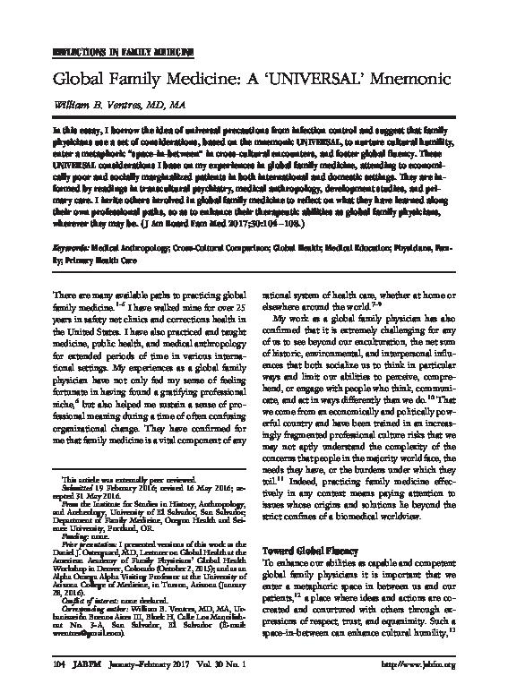 PDF) Global Family Medicine: A 'UNIVERSAL' Mnemonic