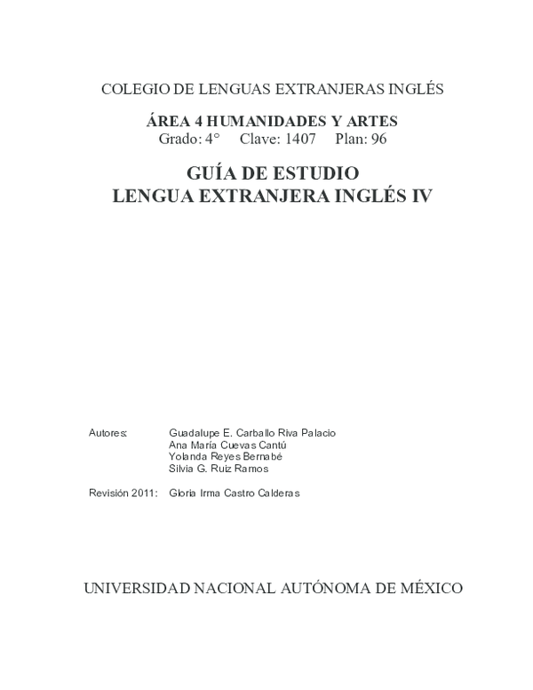 Pdf Guía De Estudio Lengua Extranjera Inglés Iv Jams Dj