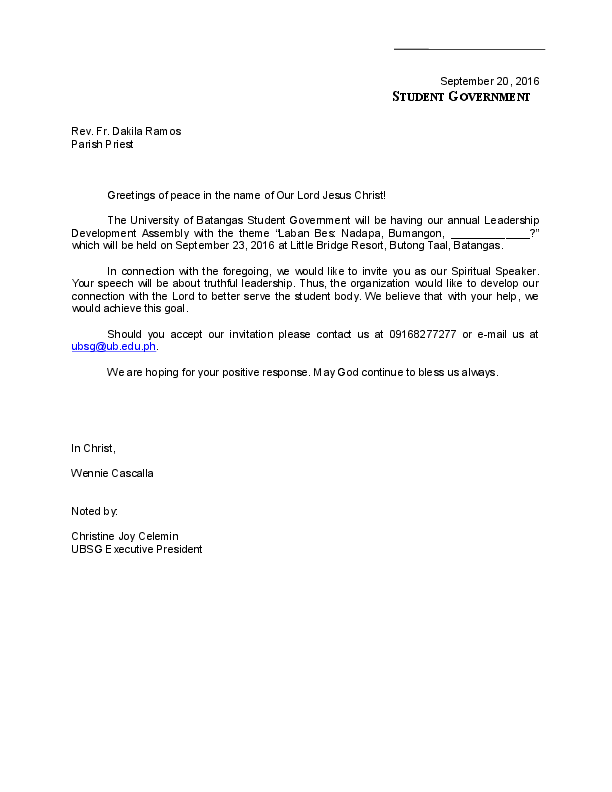 DOC) Sample Letter Benchmarking | University of Batangas Student