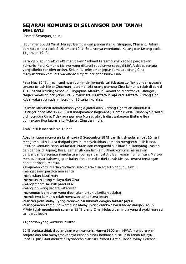 Doc Sejarah Komunis Di Selangor Dan Tanah Melayu Azyan Shahira Academia Edu