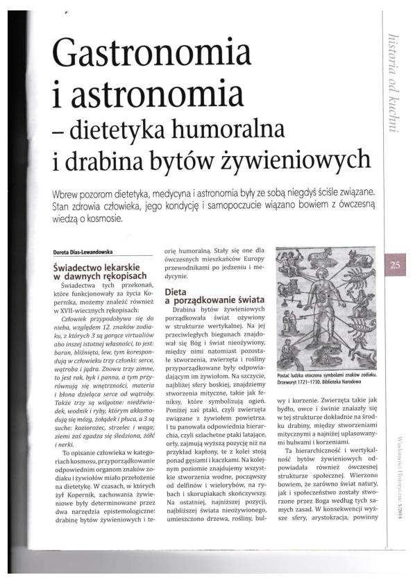 Pdf Gastronomia I Astronomia Dietetyka Humoralna I