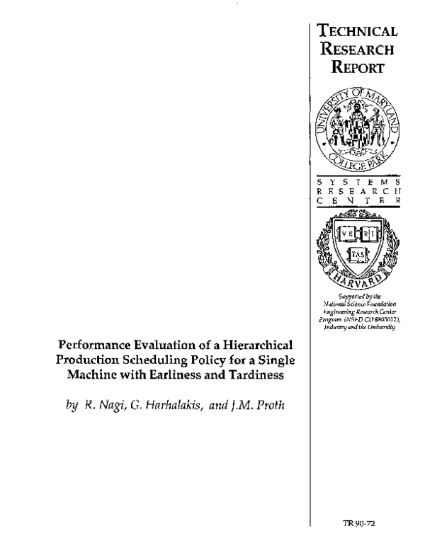 PDF) Performance Evaluation of a Hierarchical Production