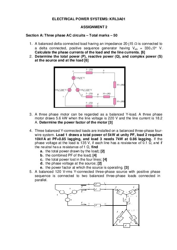 PDF) ELECTRICAL POWER SYSTEMS: KRL3A01 ASSIGNMENT 2 | IVAn