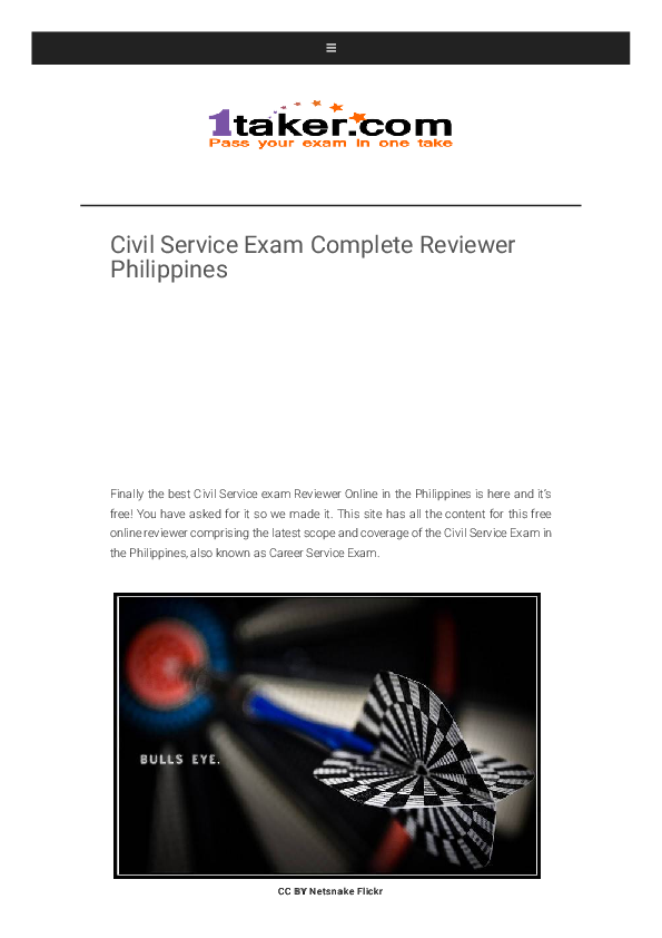 Civil Service Exam Complete Reviewer Philippines Shaira Mae