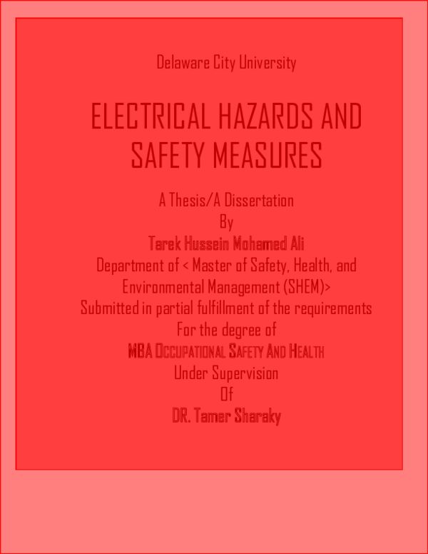 Thesis electrical safety professional application letter editing websites online
