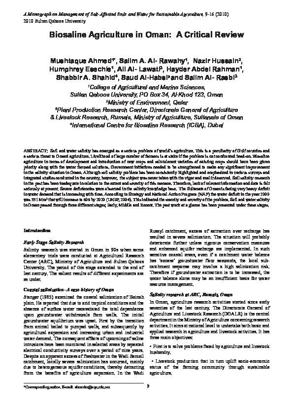 PDF) Biosaline agriculture in Oman: a critical review    Mushtaque