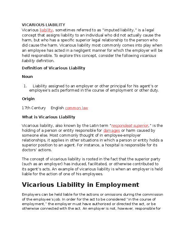 Vicarious liability essay