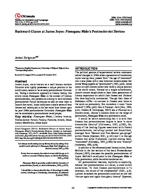 PDF) Backward Glance at James Joyce: Finnegans Wake 's