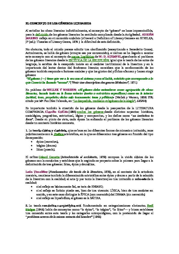 Doc El Concepto De Los Géneros Literarios Ana Atehortua