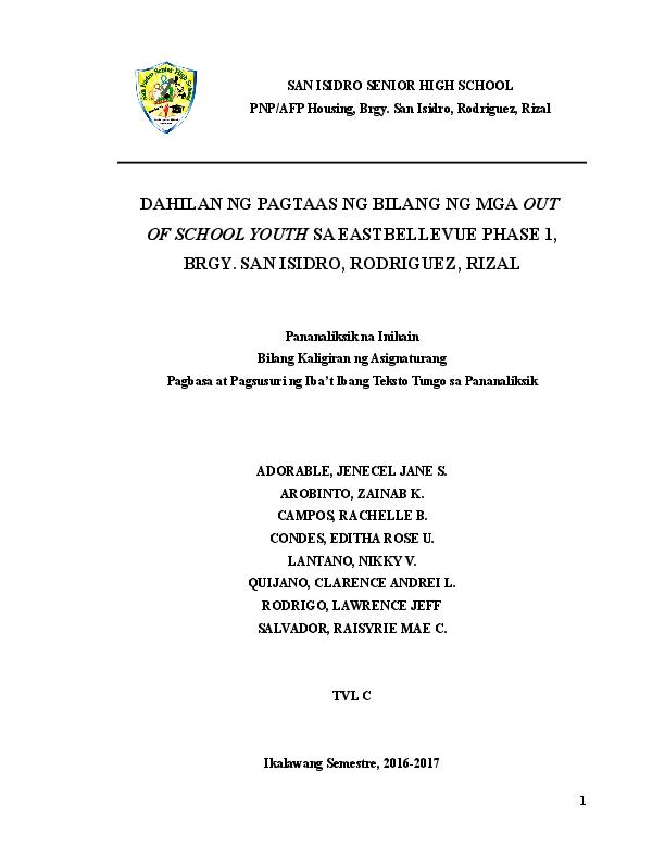 DOC) SAN ISIDRO SENIOR HIGH SCHOOL DAHILAN NG PAGTAAS NG