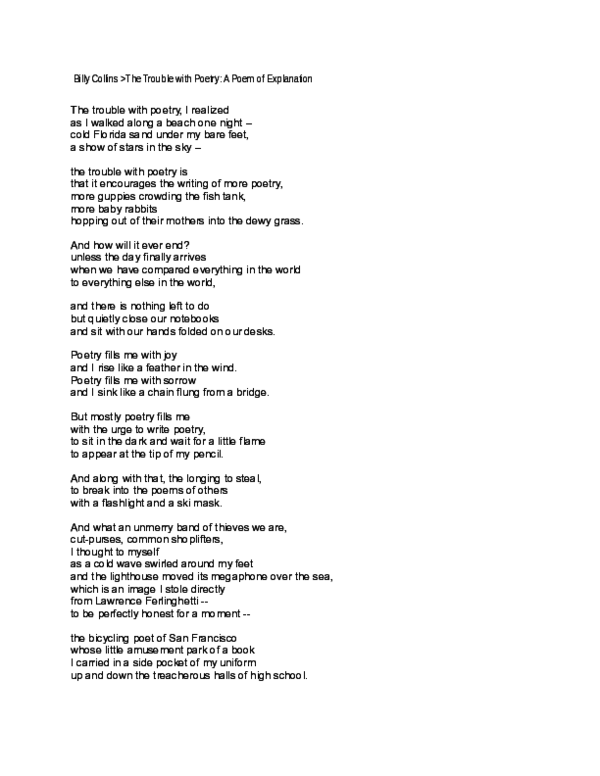 Doc Billy Collins The Trouble With Poetry A Poem Of