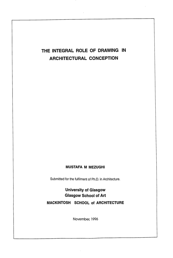 Pdf The Integral Role Of Drawing In Architectural