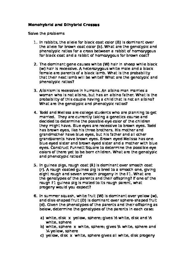 DOC) Monohybrid and Dihybrid Crosses | Nura Person