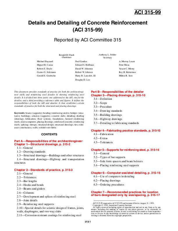 PDF) ACI 315 99 Details Detailing of Concrete Reinforcement