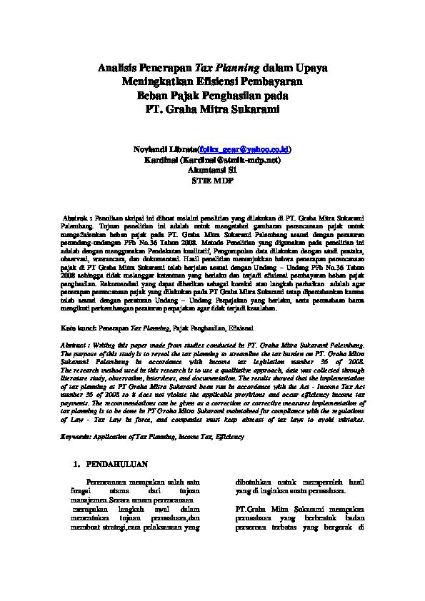 Pdf Analisis Penerapan Tax Planning Dalam Upaya Pdf Hans Wakhida Academia Edu