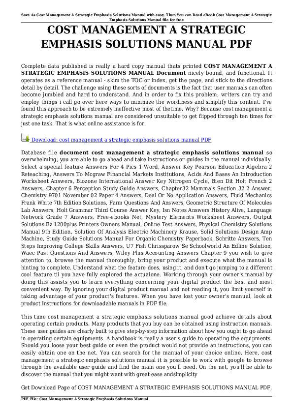 PDF) Cost Management A Strategic Emphasis Solutions Manual.pdf ...