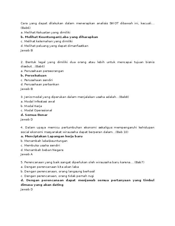 Doc Soal Kewirausahaan Umi Irianti Academia Edu