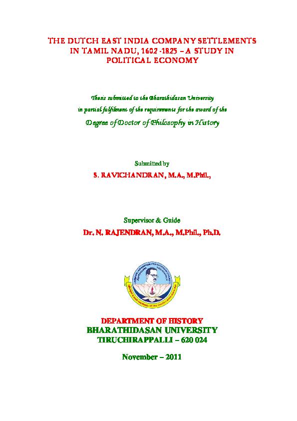 PDF) THE DUTCH EAST INDIA COMPANY SETTLEMENTS IN TAMIL NADU, 1602