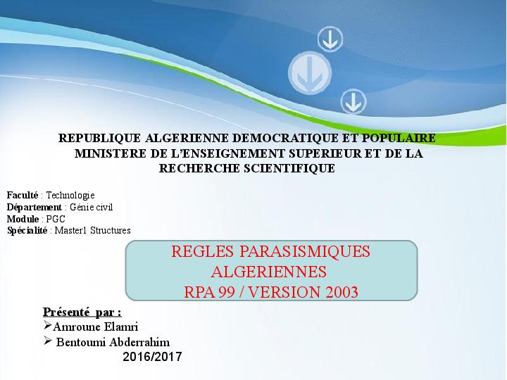 REGLEMENT 2003 99 VERSION TÉLÉCHARGER PARASISMIQUE LE ALGERIEN