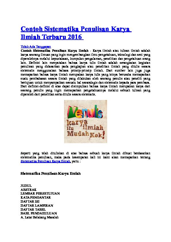 Doc Contoh Sistematika Penulisan Karya Ilmiah Terbaru 2016 Arfandi Hermawan Academia Edu