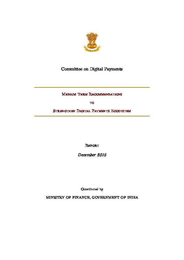 PDF) Committee on Digital Payments | Kapil Panchal - Academia edu