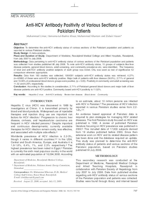 PDF) Anti-HCV antibody positivity of various sections of Pakistani