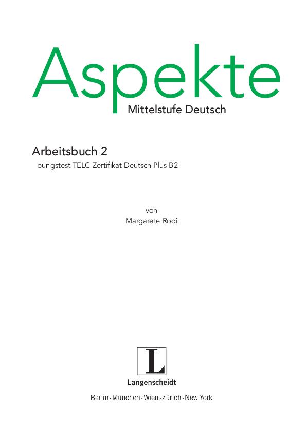 Pdf Aspekte Mittelstufe Deutsch Arbeitsbuch 2 übungstest Telc