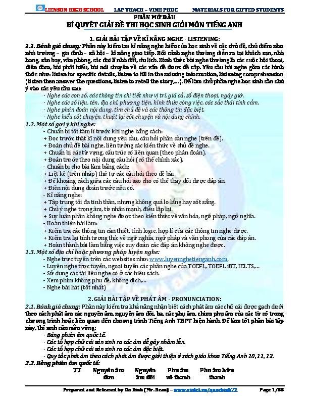 Pdf Lienson High School Lap Thach Vinh Phuc Materials For Gifted Students Phần Mở đầu Bi Quyet Giải đề Thi Học Sinh Giỏi Mon Tiếng Anh Blue Mạnh Academia Edu