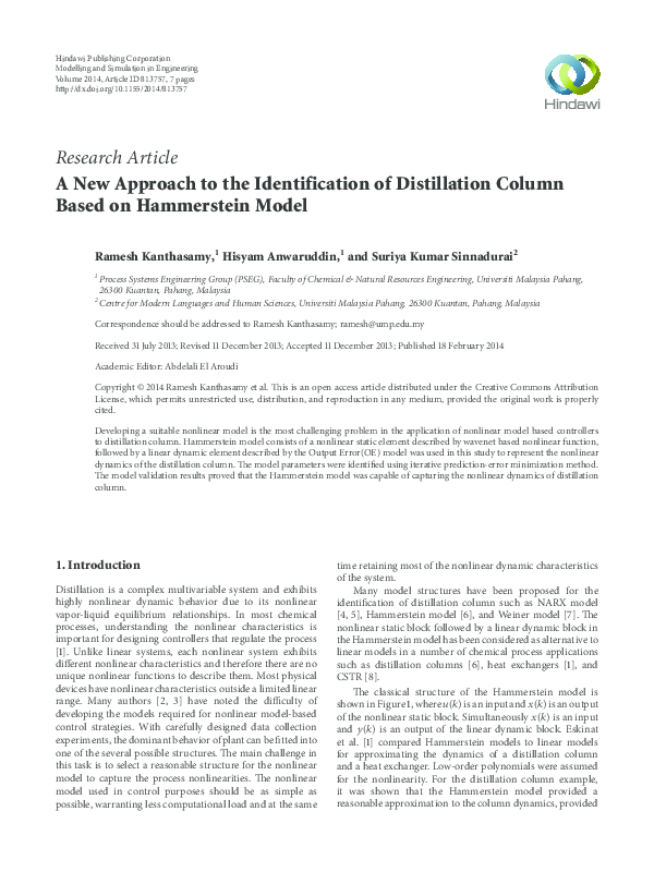 PDF) A New Approach to the Identification of Distillation