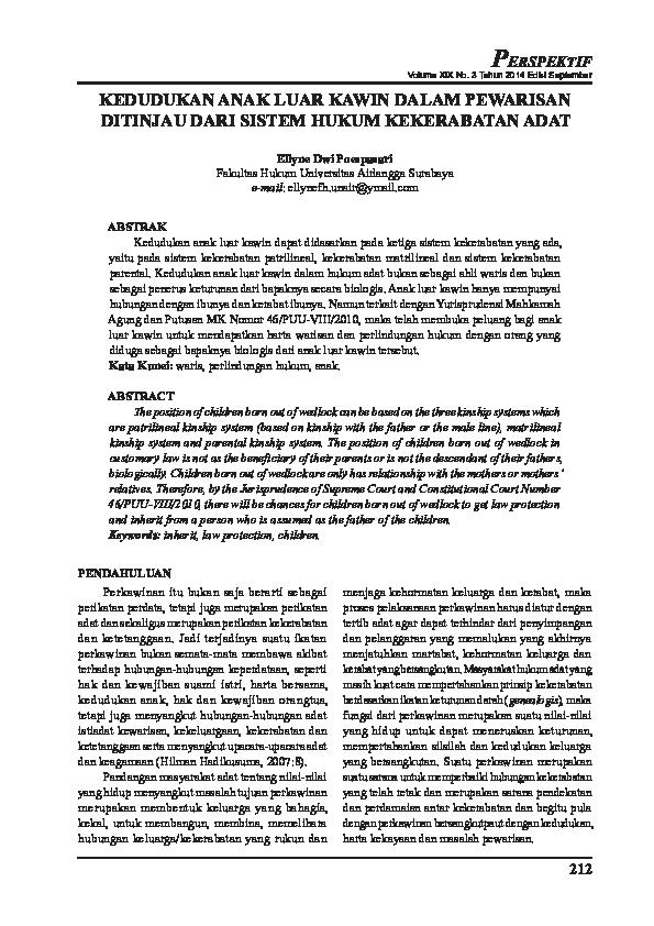 PDF) KEDUDUKAN ANAK LUAR KAWIN DALAM PEWARISAN DITINJAU DARI