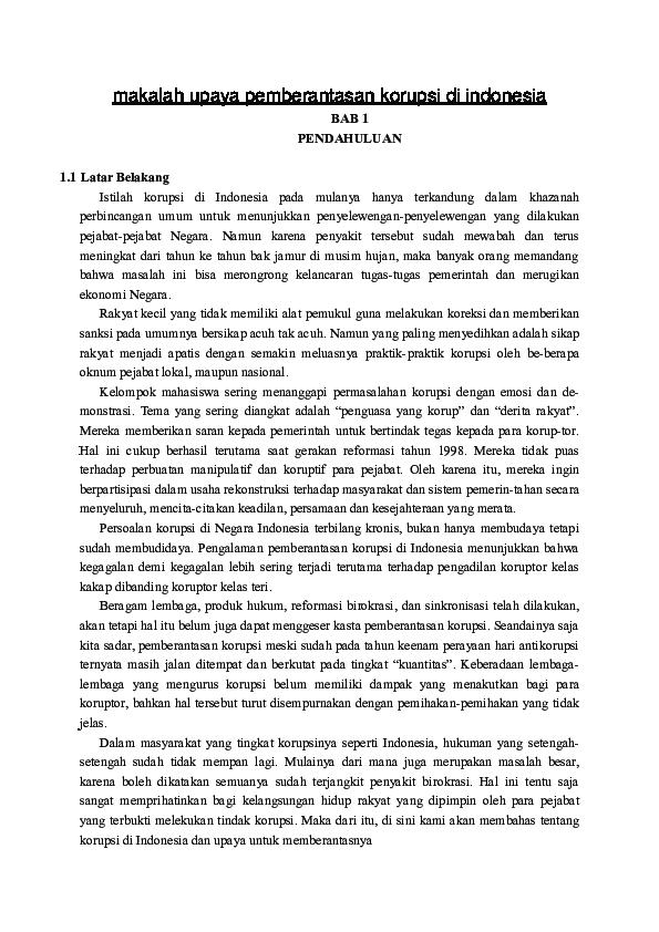 Makalah Upaya Pemberantasan Korupsi Di Indonesia